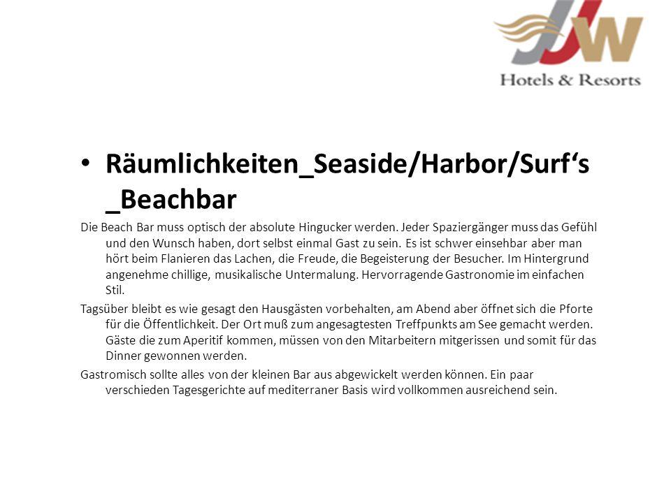 Räumlichkeiten_Seaside/Harbor/Surfs _Beachbar Die Beach Bar muss optisch der absolute Hingucker werden. Jeder Spaziergänger muss das Gefühl und den Wu