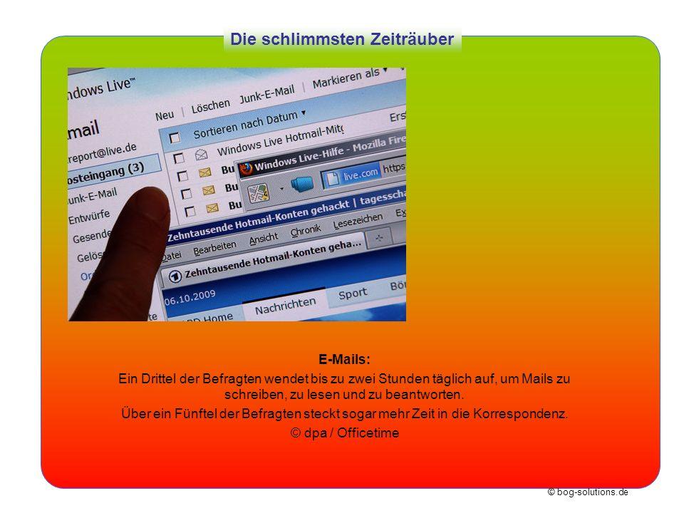 © bog-solutions.de Die schlimmsten Zeiträuber E-Mails: Ein Drittel der Befragten wendet bis zu zwei Stunden täglich auf, um Mails zu schreiben, zu les