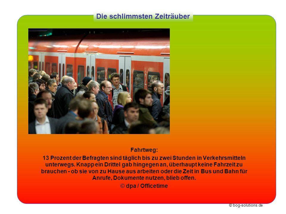 © bog-solutions.de Die schlimmsten Zeiträuber Fahrtweg: 13 Prozent der Befragten sind täglich bis zu zwei Stunden in Verkehrsmitteln unterwegs. Knapp
