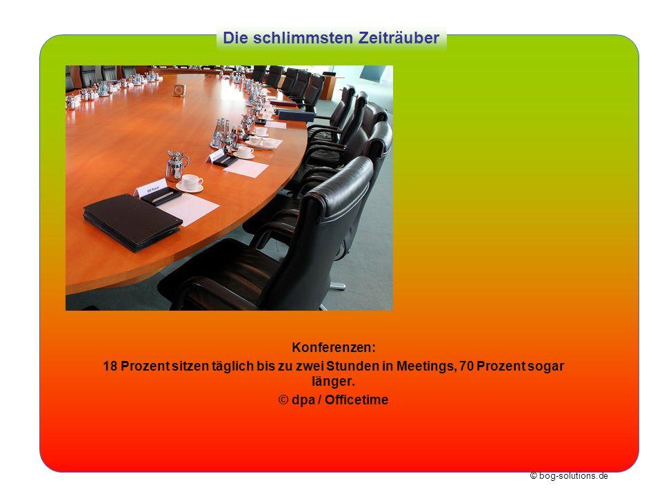 © bog-solutions.de Die schlimmsten Zeiträuber Konferenzen: 18 Prozent sitzen täglich bis zu zwei Stunden in Meetings, 70 Prozent sogar länger. © dpa /