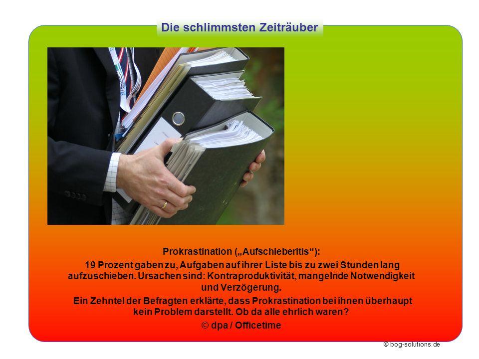 © bog-solutions.de Die schlimmsten Zeiträuber Prokrastination (Aufschieberitis): 19 Prozent gaben zu, Aufgaben auf ihrer Liste bis zu zwei Stunden lan