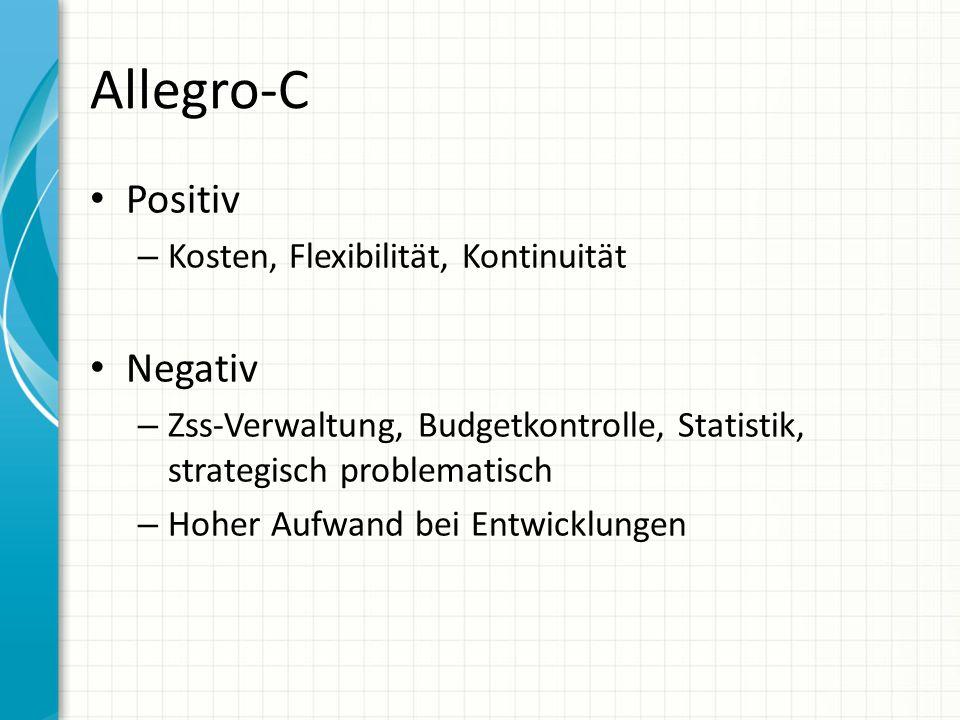 Allegro-C Positiv – Kosten, Flexibilität, Kontinuität Negativ – Zss-Verwaltung, Budgetkontrolle, Statistik, strategisch problematisch – Hoher Aufwand bei Entwicklungen