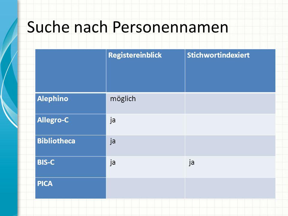 Suche nach Personennamen RegistereinblickStichwortindexiert Alephino möglich Allegro-C ja Bibliotheca ja BIS-C ja PICA