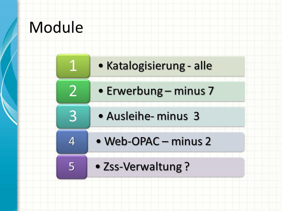 Katalogisierung - alleKatalogisierung - alle 1 Erwerbung – minus 7Erwerbung – minus 7 2 Ausleihe- minus 3Ausleihe- minus 3 3 Web-OPAC – minus 2Web-OPAC – minus 2 4 Zss-Verwaltung Zss-Verwaltung .