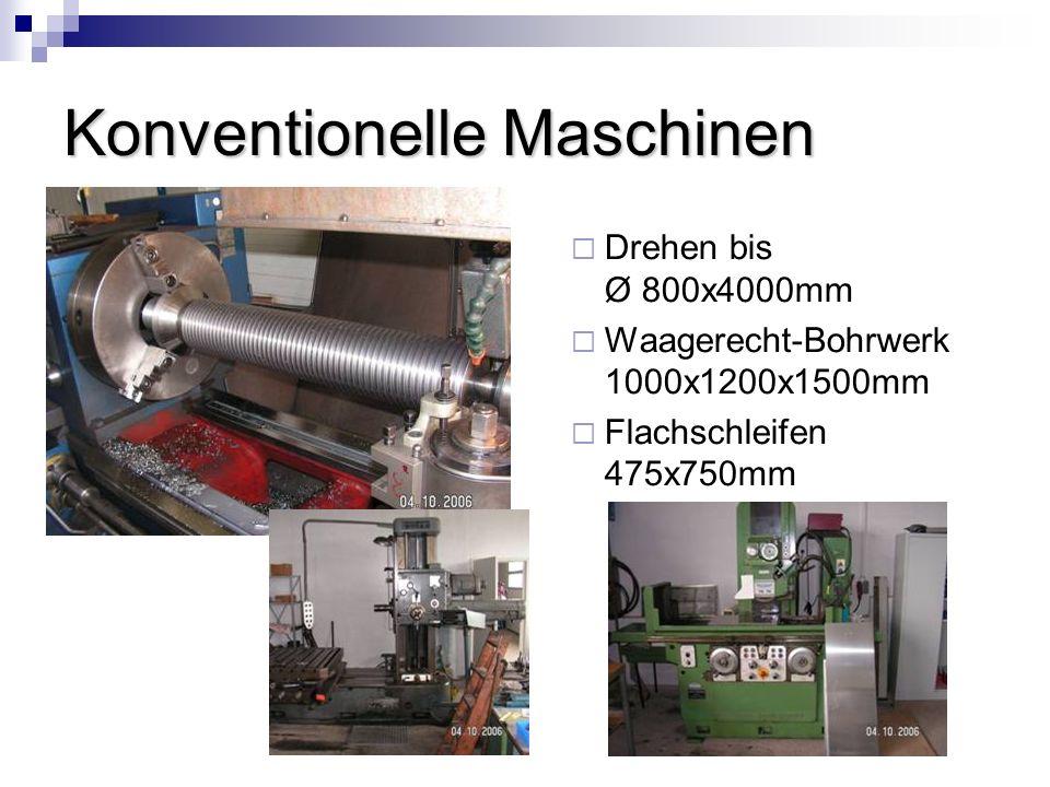 Konventionelle Maschinen Drehen bis Ø 800x4000mm Waagerecht-Bohrwerk 1000x1200x1500mm Flachschleifen 475x750mm