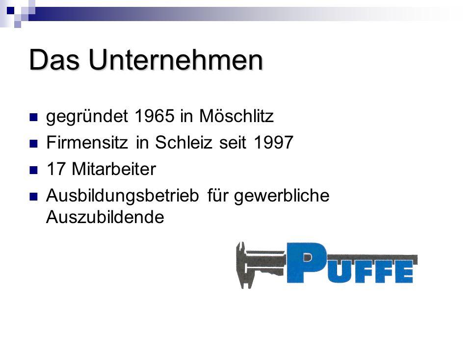 Das Unternehmen gegründet 1965 in Möschlitz Firmensitz in Schleiz seit 1997 17 Mitarbeiter Ausbildungsbetrieb für gewerbliche Auszubildende