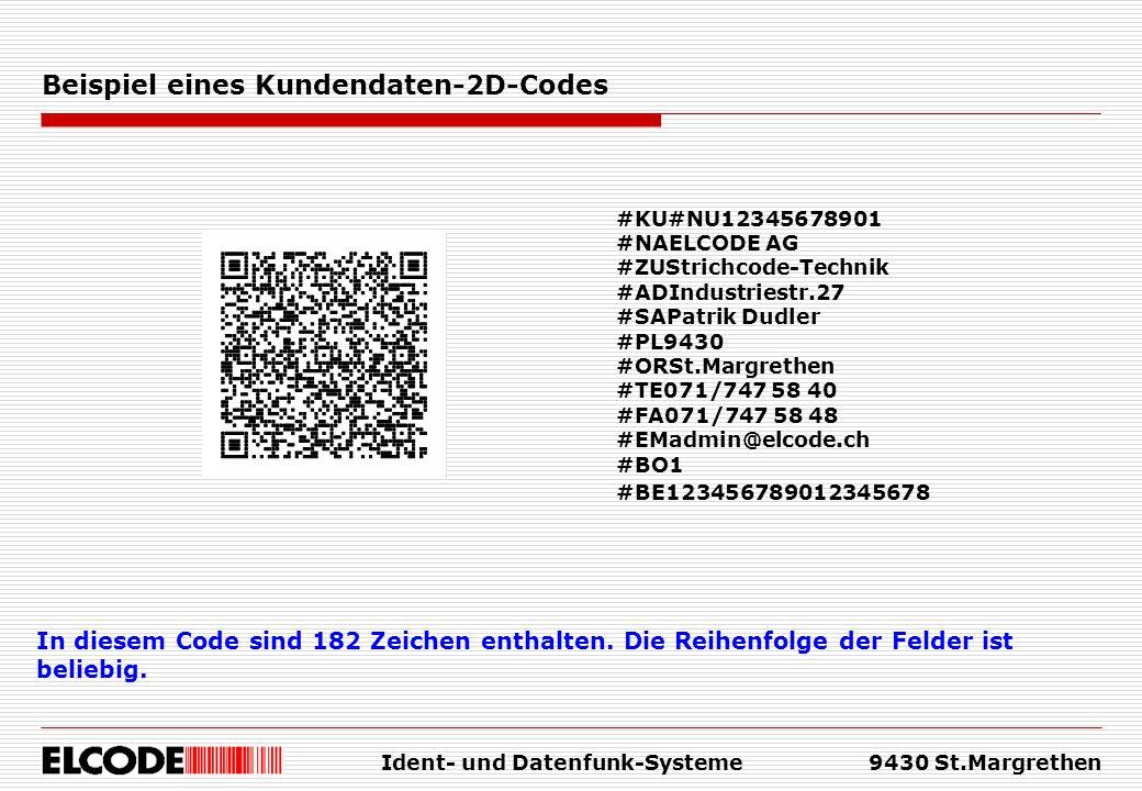 Ident- und Datenfunk-Systeme9430 St.Margrethen Beispiel eines Kundendaten-2D-Codes In diesem Code sind 182 Zeichen enthalten.