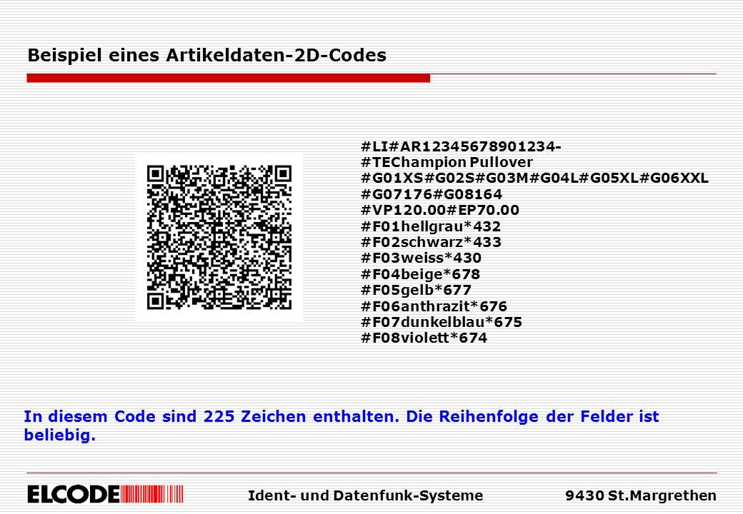 Ident- und Datenfunk-Systeme9430 St.Margrethen Beispiel eines Artikeldaten-2D-Codes In diesem Code sind 225 Zeichen enthalten.