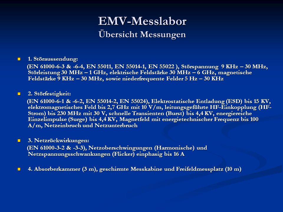 EMV-Messlabor Übersicht Messungen 1.Störaussendung: 1.