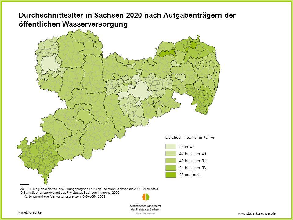 www.statistik.sachsen.de Annett Kirschke Durchschnittsalter in Jahren unter 47 47 bis unter 49 49 bis unter 51 51 bis unter 53 53 und mehr _____ 2020: