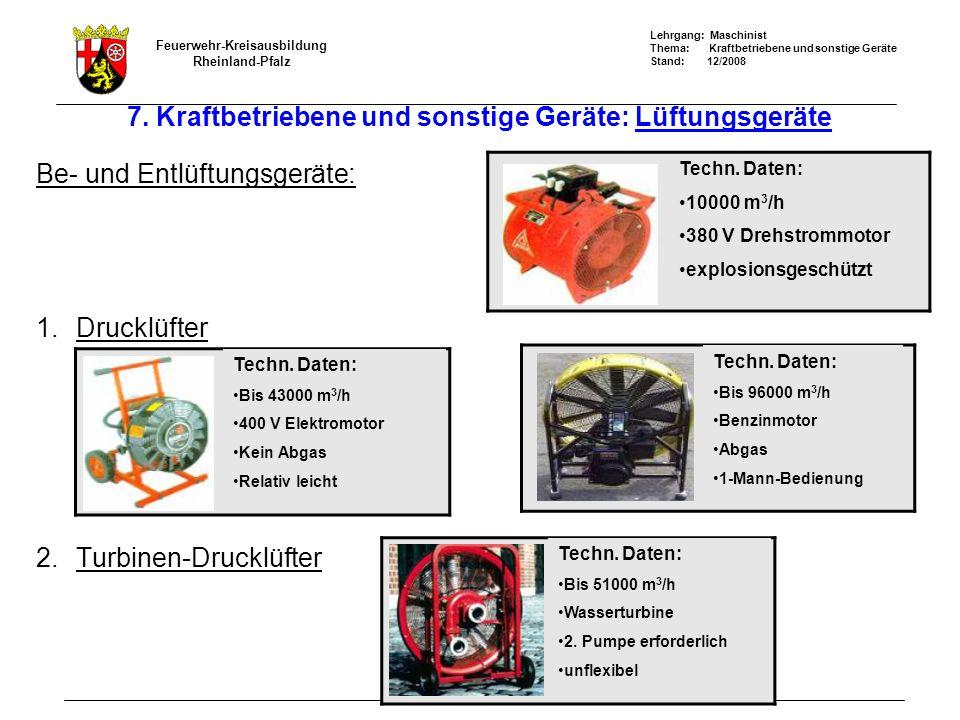Lehrgang: Maschinist Thema: Kraftbetriebene und sonstige Geräte Stand: 12/2008 Feuerwehr-Kreisausbildung Rheinland-Pfalz 7.