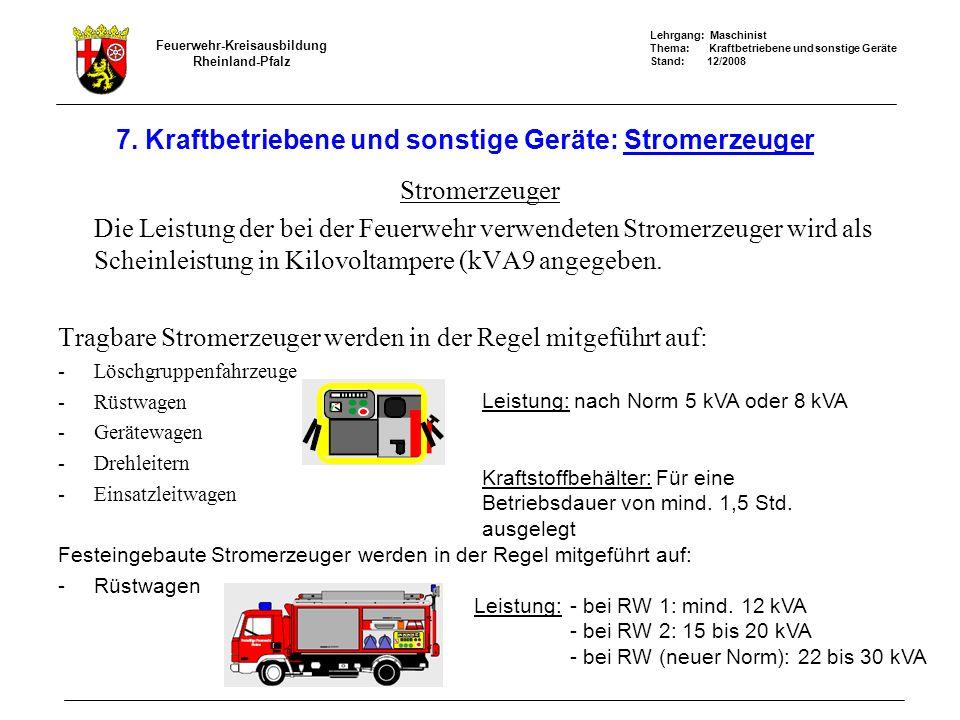 Lehrgang: Maschinist Thema: Kraftbetriebene und sonstige Geräte Stand: 12/2008 Feuerwehr-Kreisausbildung Rheinland-Pfalz 7. Kraftbetriebene und sonsti
