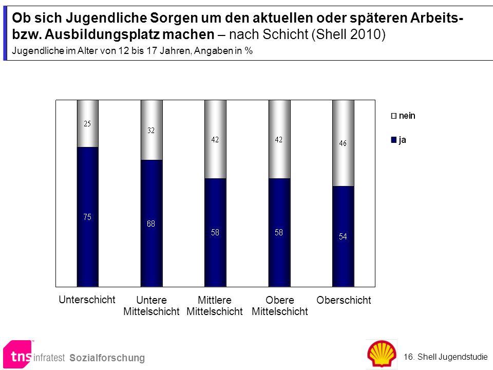 Ob sich Jugendliche Sorgen um den aktuellen oder späteren Arbeits- bzw. Ausbildungsplatz machen – nach Schicht (Shell 2010) Jugendliche im Alter von 1
