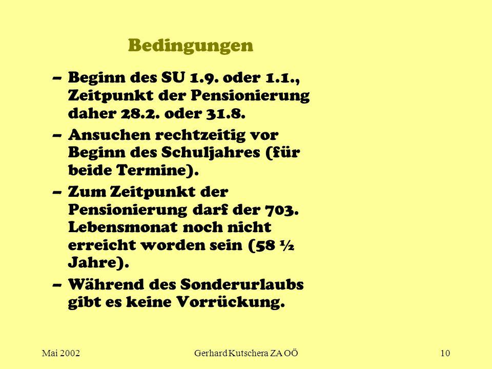 Mai 2002Gerhard Kutschera ZA OÖ10 Bedingungen –Beginn des SU 1.9. oder 1.1., Zeitpunkt der Pensionierung daher 28.2. oder 31.8. –Ansuchen rechtzeitig