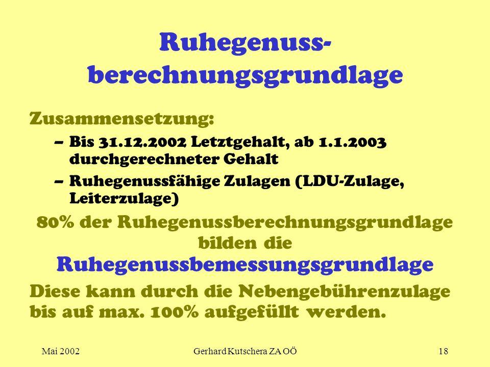 Mai 2002Gerhard Kutschera ZA OÖ18 Ruhegenuss- berechnungsgrundlage Zusammensetzung: –Bis 31.12.2002 Letztgehalt, ab 1.1.2003 durchgerechneter Gehalt –