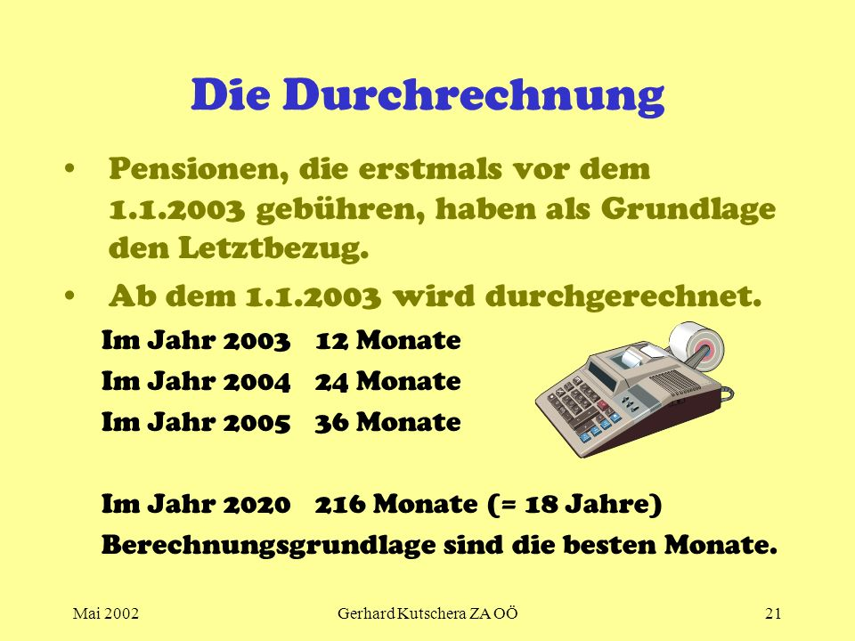 Mai 2002Gerhard Kutschera ZA OÖ21 Die Durchrechnung Pensionen, die erstmals vor dem 1.1.2003 gebühren, haben als Grundlage den Letztbezug. Ab dem 1.1.