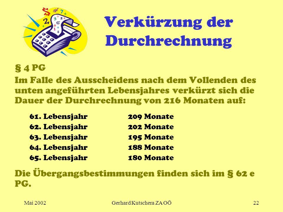 Mai 2002Gerhard Kutschera ZA OÖ22 Verkürzung der Durchrechnung § 4 PG Im Falle des Ausscheidens nach dem Vollenden des unten angeführten Lebensjahres