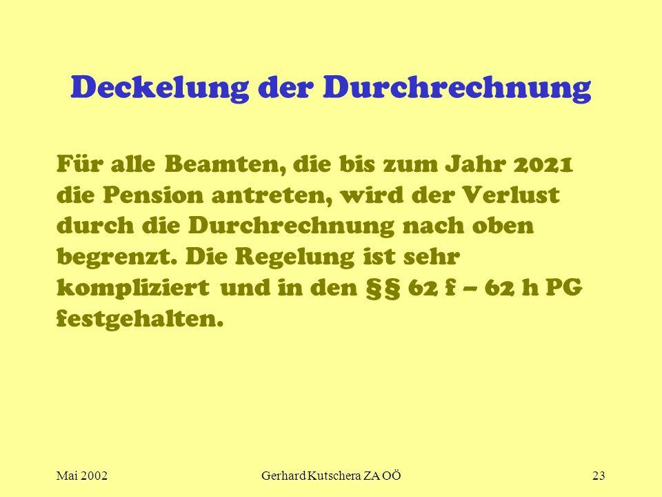 Mai 2002Gerhard Kutschera ZA OÖ23 Deckelung der Durchrechnung Für alle Beamten, die bis zum Jahr 2021 die Pension antreten, wird der Verlust durch die