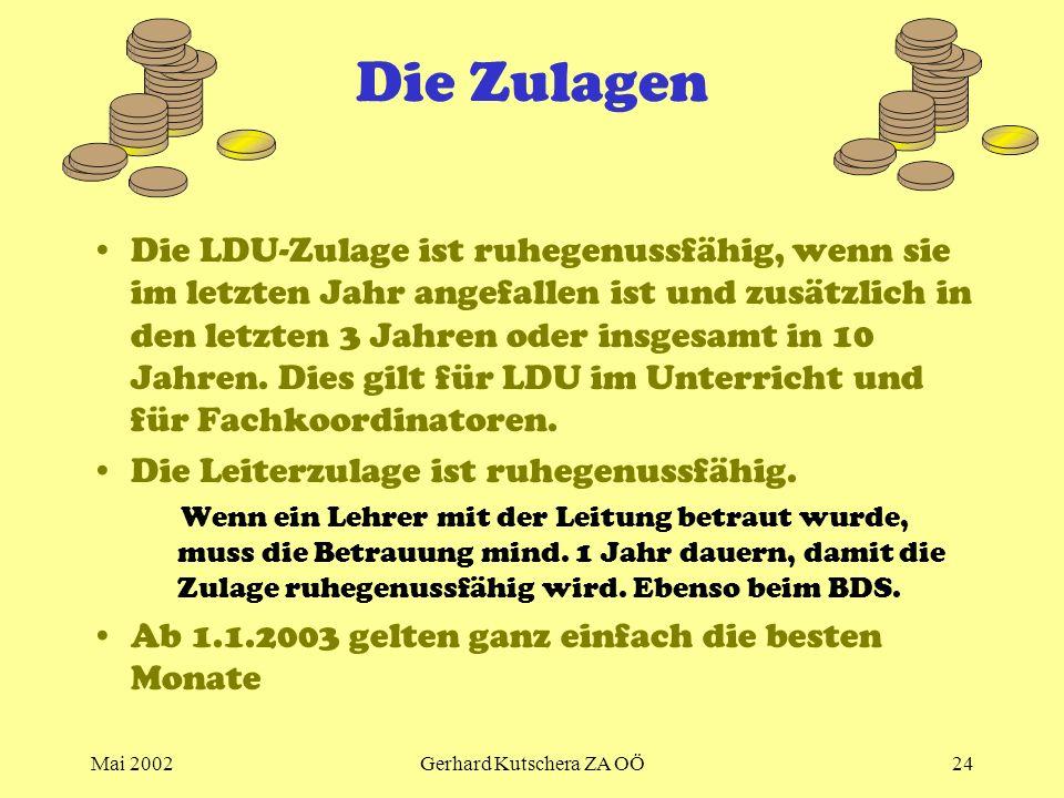 Mai 2002Gerhard Kutschera ZA OÖ24 Die Zulagen Die LDU-Zulage ist ruhegenussfähig, wenn sie im letzten Jahr angefallen ist und zusätzlich in den letzte