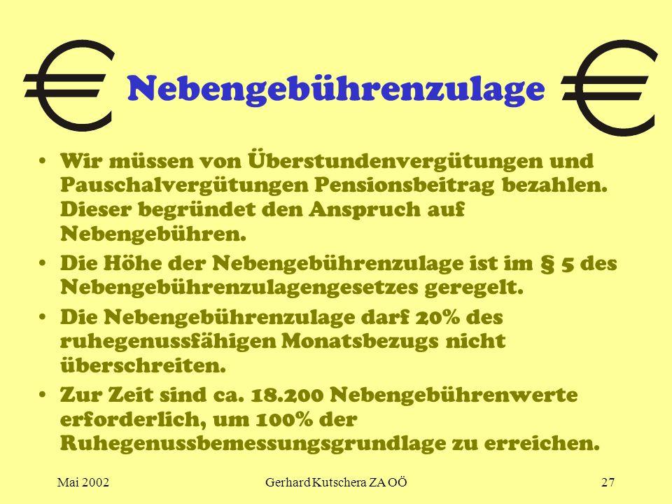 Mai 2002Gerhard Kutschera ZA OÖ27 Nebengebührenzulage Wir müssen von Überstundenvergütungen und Pauschalvergütungen Pensionsbeitrag bezahlen. Dieser b