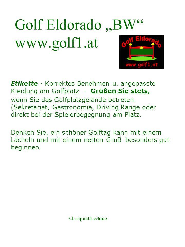Golf Eldorado BW www.golf1.at Etikette - Korrektes Benehmen u.