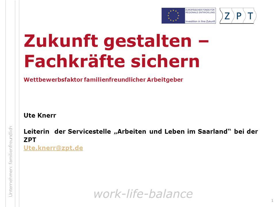 22 Gliederung Notwendigkeit einer familienfreundlichen Personalpolitik für Unternehmen und Standorte Best Practice Fazit work-life-balance Unternehmen: familienfreundlich