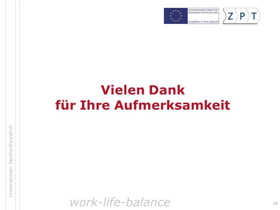 18 Unternehmen: familienfreundlich Vielen Dank für Ihre Aufmerksamkeit work-life-balance