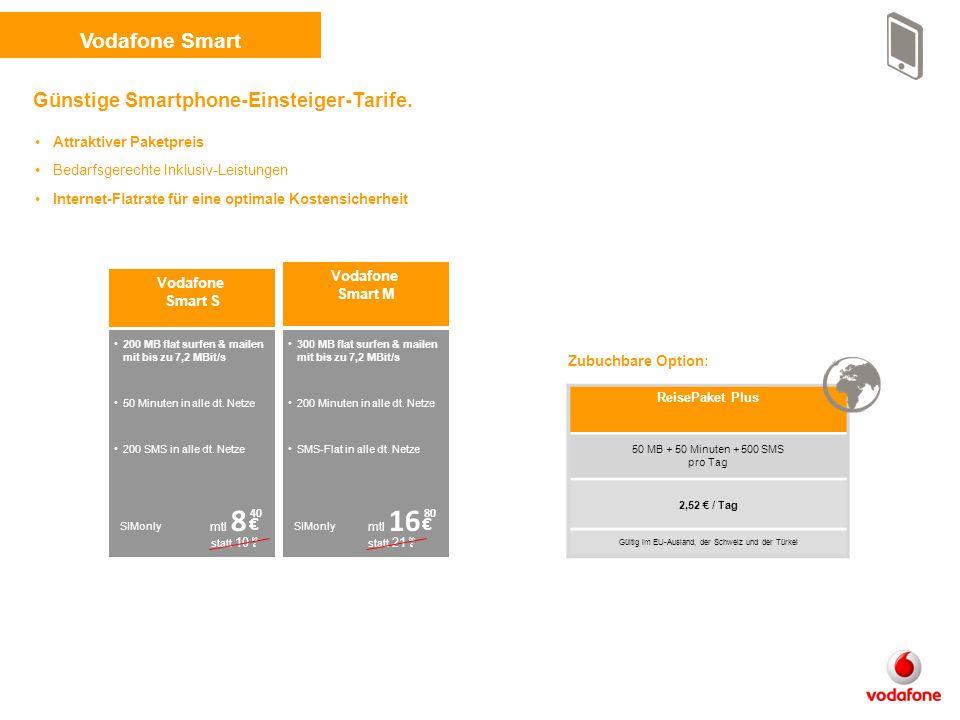 Vodafone Smart 300 MB flat surfen & mailen mit bis zu 7,2 MBit/s 200 Minuten in alle dt.