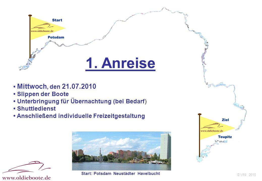 © VINI 2010 1. Anreise Mittwoch, den 21.07.2010 Slippen der Boote Unterbringung für Übernachtung (bei Bedarf) Shuttledienst Anschließend individuelle