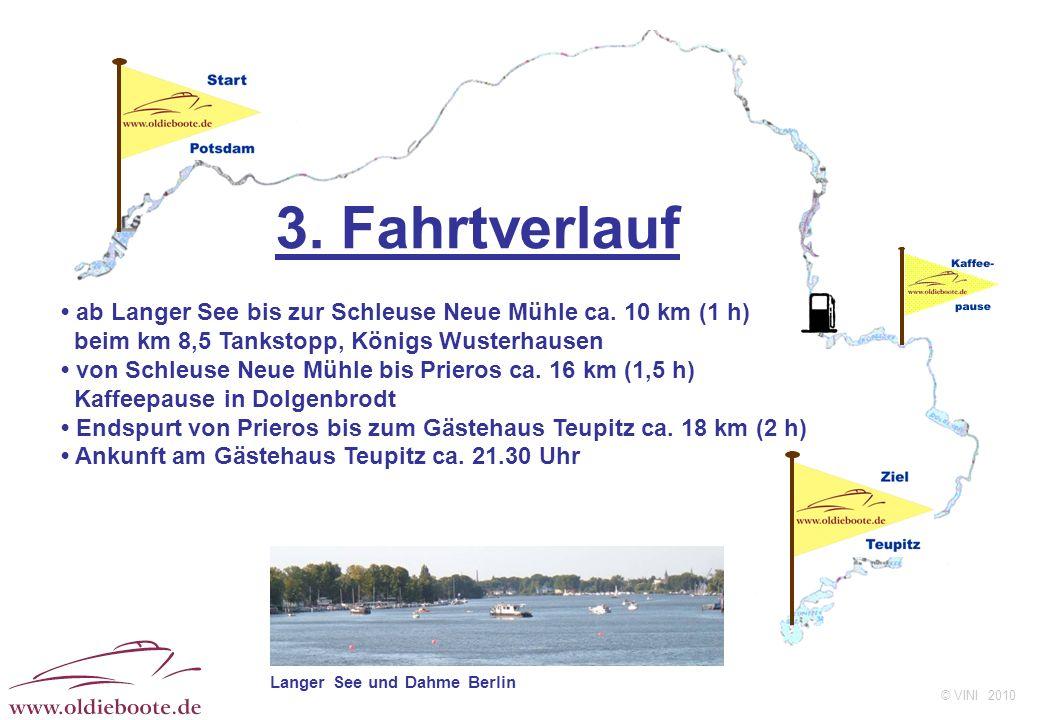 © VINI 2010 3. Fahrtverlauf ab Langer See bis zur Schleuse Neue Mühle ca. 10 km (1 h) beim km 8,5 Tankstopp, Königs Wusterhausen von Schleuse Neue Müh