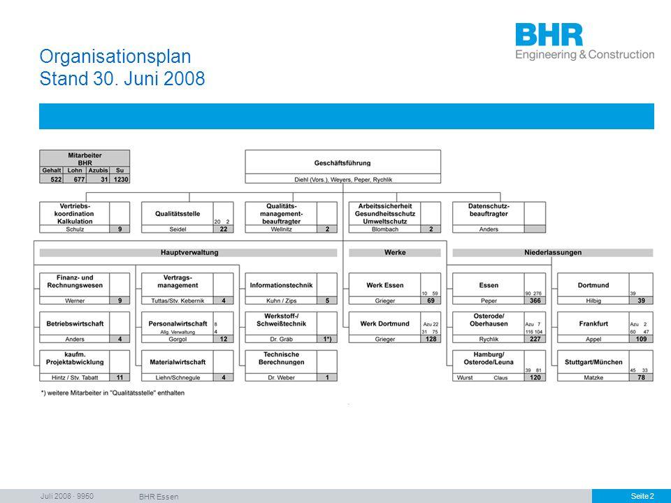 Juli 2008 · 9950 BHR Essen Seite 2 Organisationsplan Stand 30. Juni 2008