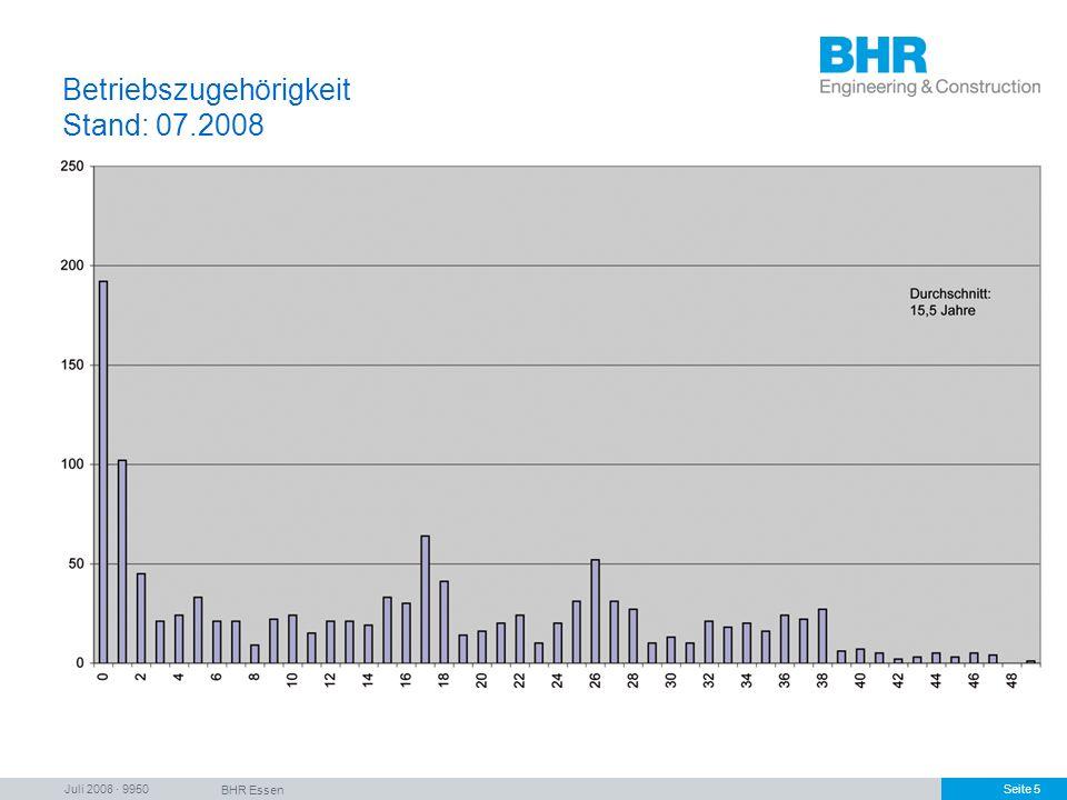 Juli 2008 · 9950 BHR Essen Seite 5 Betriebszugehörigkeit Stand: 07.2008