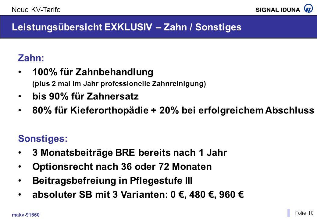 makv-91660 Folie 10 Neue KV-Tarife Leistungsübersicht EXKLUSIV – Zahn / Sonstiges Zahn: 100% für Zahnbehandlung (plus 2 mal im Jahr professionelle Zah