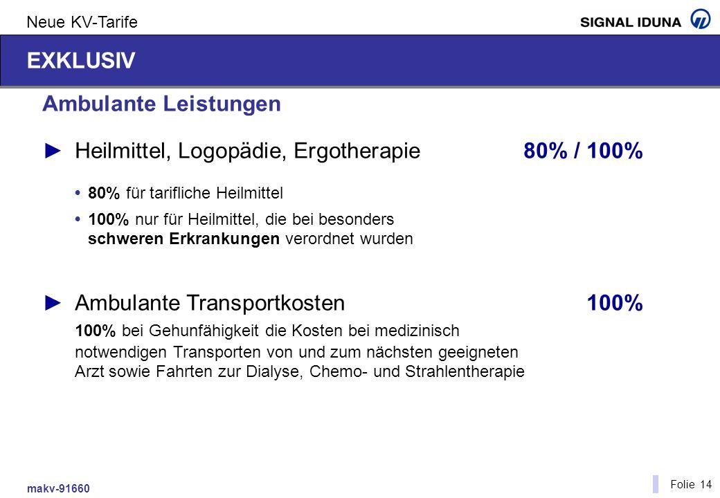 makv-91660 Folie 14 Neue KV-Tarife Ambulante Leistungen Heilmittel, Logopädie, Ergotherapie80% / 100% 80% für tarifliche Heilmittel 100% nur für Heilm
