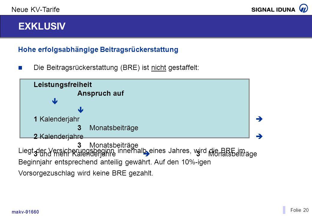 makv-91660 Folie 20 Neue KV-Tarife Hohe erfolgsabhängige Beitragsrückerstattung Die Beitragsrückerstattung (BRE) ist nicht gestaffelt: Leistungsfreihe