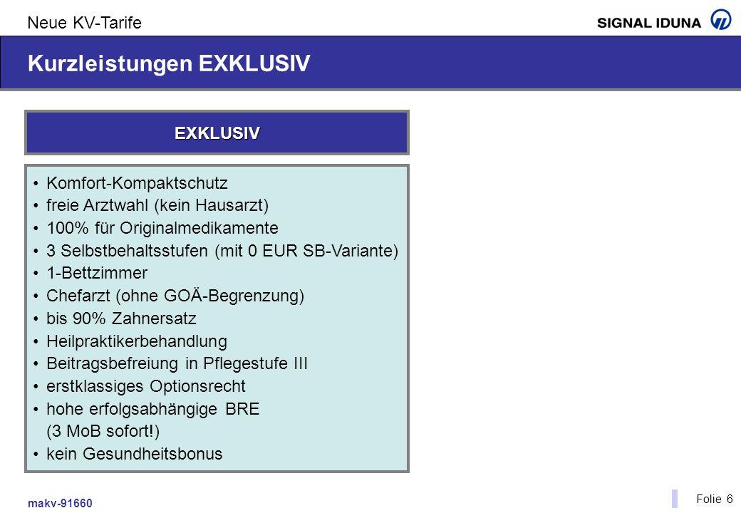 makv-91660 Folie 6 Neue KV-Tarife Kurzleistungen EXKLUSIV Komfort-Kompaktschutz freie Arztwahl (kein Hausarzt) 100% für Originalmedikamente 3 Selbstbe