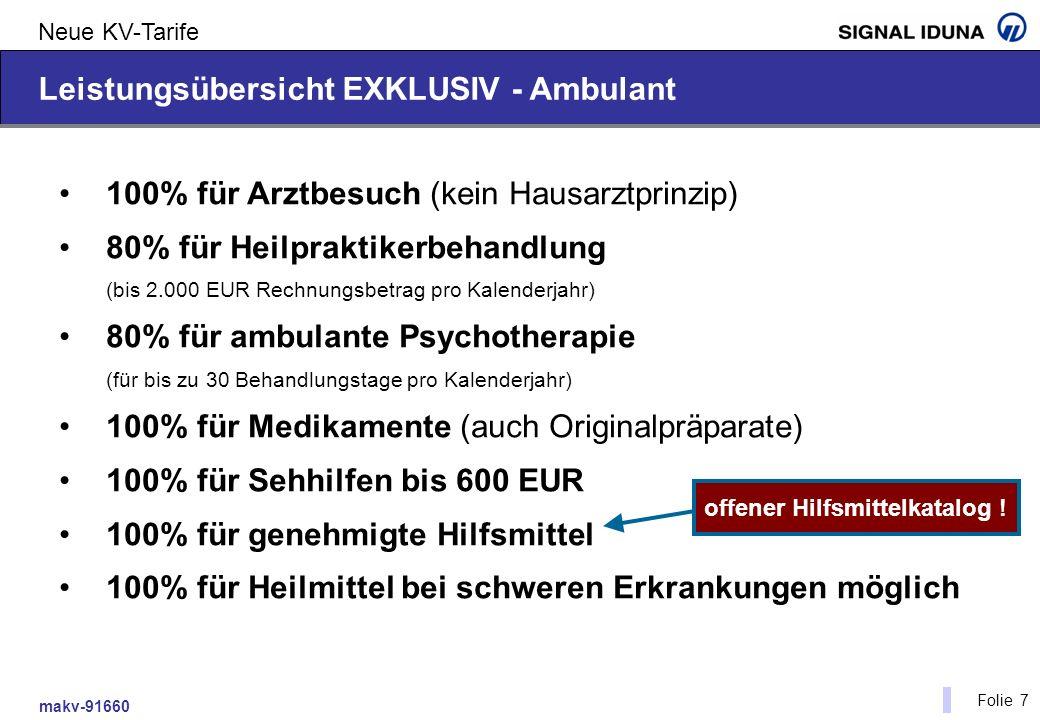 makv-91660 Folie 7 Neue KV-Tarife Leistungsübersicht EXKLUSIV - Ambulant 100% für Arztbesuch (kein Hausarztprinzip) 80% für Heilpraktikerbehandlung (b