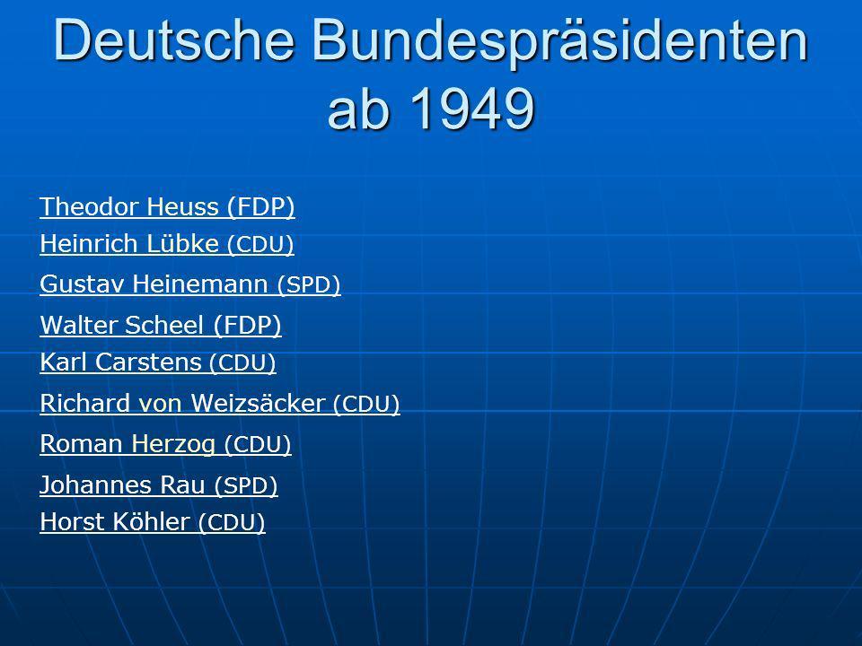 Deutsche Bundespräsidenten ab 1949 Theodor Heuss (FDP) Heinrich Lübke (CDU) Gustav Heinemann (SPD) Walter Scheel (FDP) Karl Carstens (CDU) Richard von
