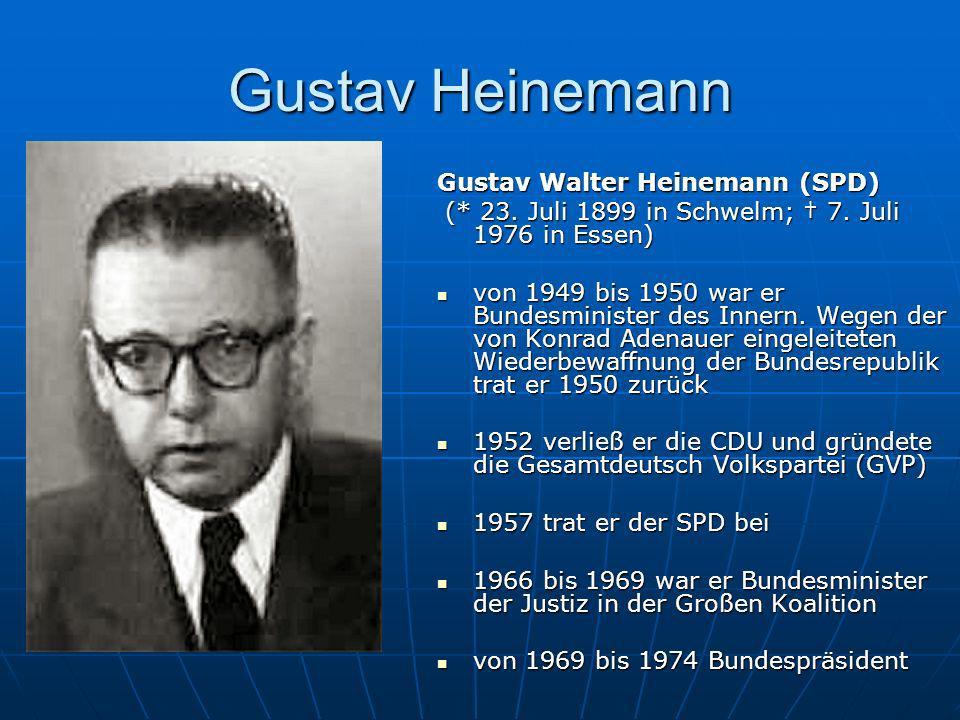 Gustav Heinemann Gustav Walter Heinemann (SPD) (* 23. Juli 1899 in Schwelm; 7. Juli 1976 in Essen) (* 23. Juli 1899 in Schwelm; 7. Juli 1976 in Essen)