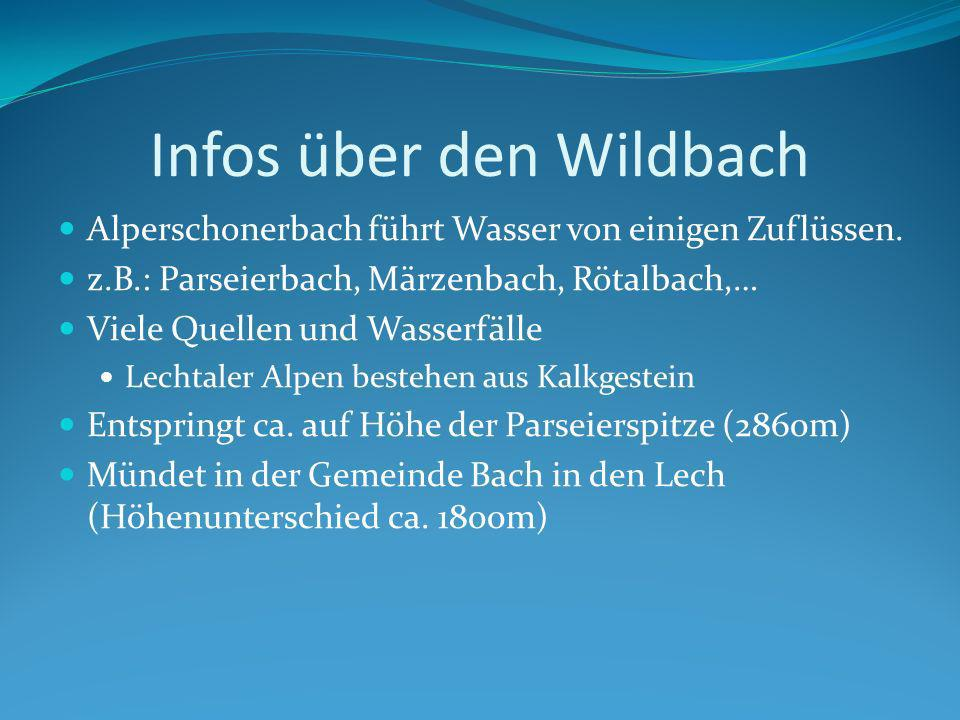 Infos über den Wildbach Alperschonerbach führt Wasser von einigen Zuflüssen.