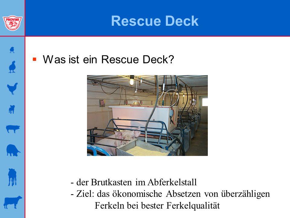 Rescue Deck Was ist ein Rescue Deck? - der Brutkasten im Abferkelstall - Ziel: das ökonomische Absetzen von überzähligen Ferkeln bei bester Ferkelqual