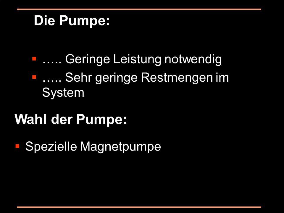 Die Pumpe: ….. Geringe Leistung notwendig ….. Sehr geringe Restmengen im System Wahl der Pumpe: Spezielle Magnetpumpe