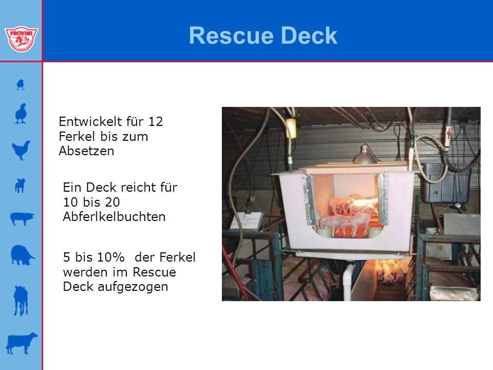 Rescue Deck Entwickelt für 12 Ferkel bis zum Absetzen Ein Deck reicht für 10 bis 20 Abferlkelbuchten 5 bis 10% der Ferkel werden im Rescue Deck aufgez