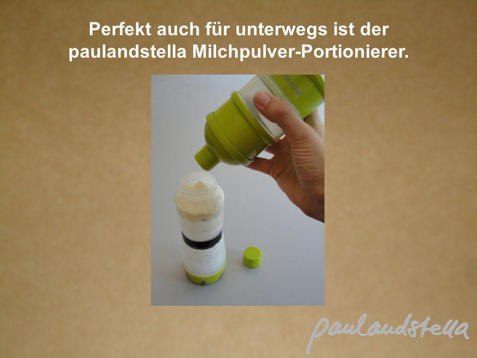 Perfekt auch für unterwegs ist der paulandstella Milchpulver-Portionierer.