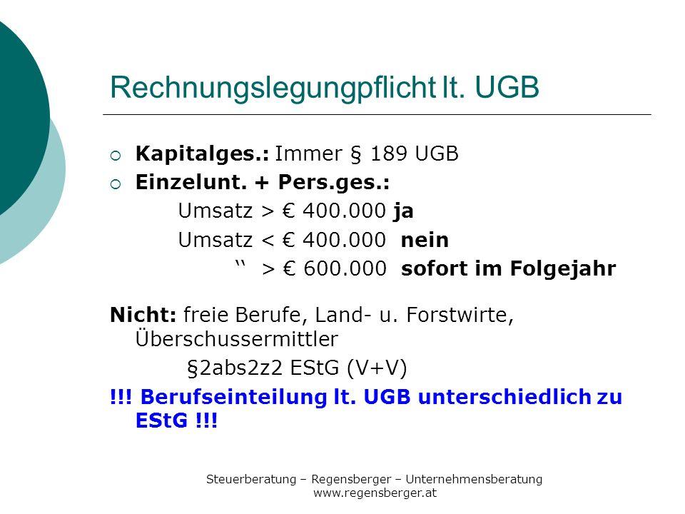 Steuerberatung – Regensberger – Unternehmensberatung www.regensberger.at Rechnungslegungpflicht lt. UGB Kapitalges.: Immer § 189 UGB Einzelunt. + Pers