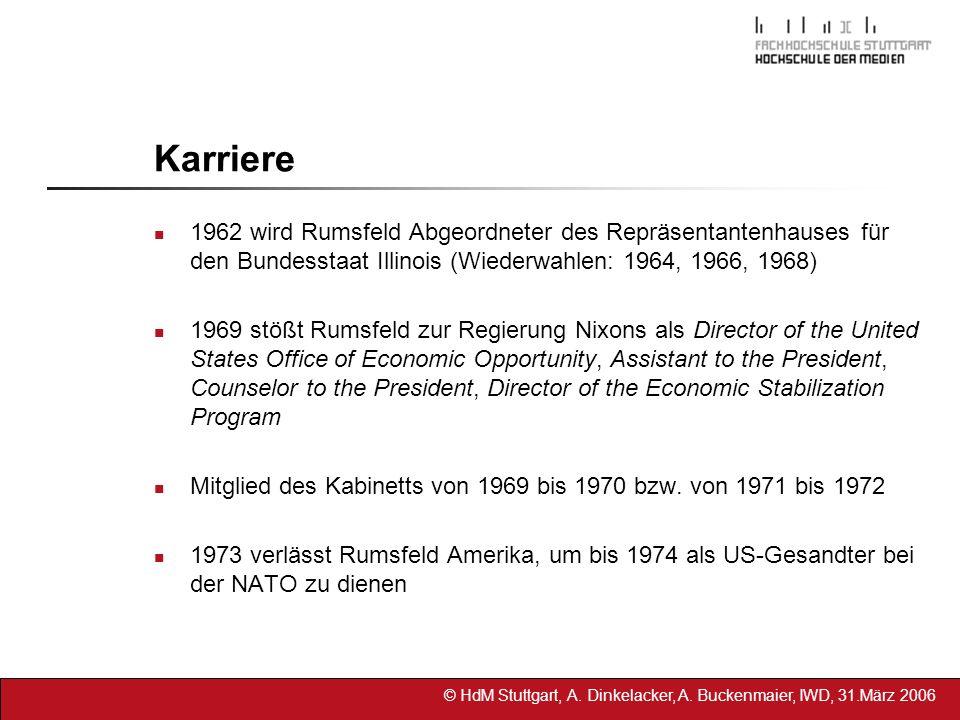 © HdM Stuttgart, A. Dinkelacker, A. Buckenmaier, IWD, 31.März 2006 Karriere 1962 wird Rumsfeld Abgeordneter des Repräsentantenhauses für den Bundessta