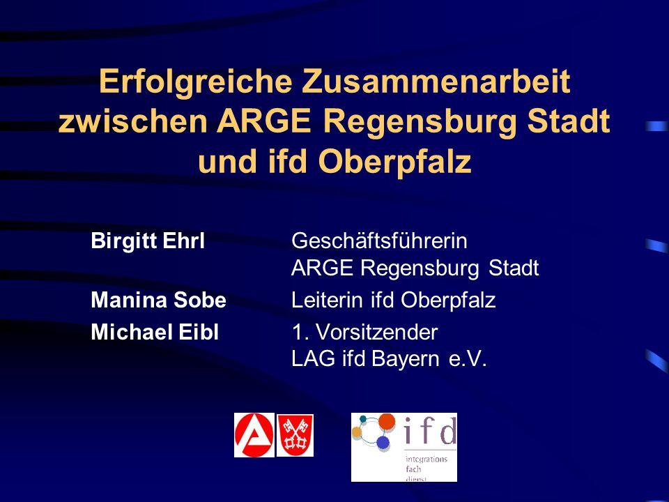 Erfolgreiche Zusammenarbeit zwischen ARGE Regensburg Stadt und ifd Oberpfalz Birgitt EhrlGeschäftsführerin ARGE Regensburg Stadt Manina Sobe Leiterin