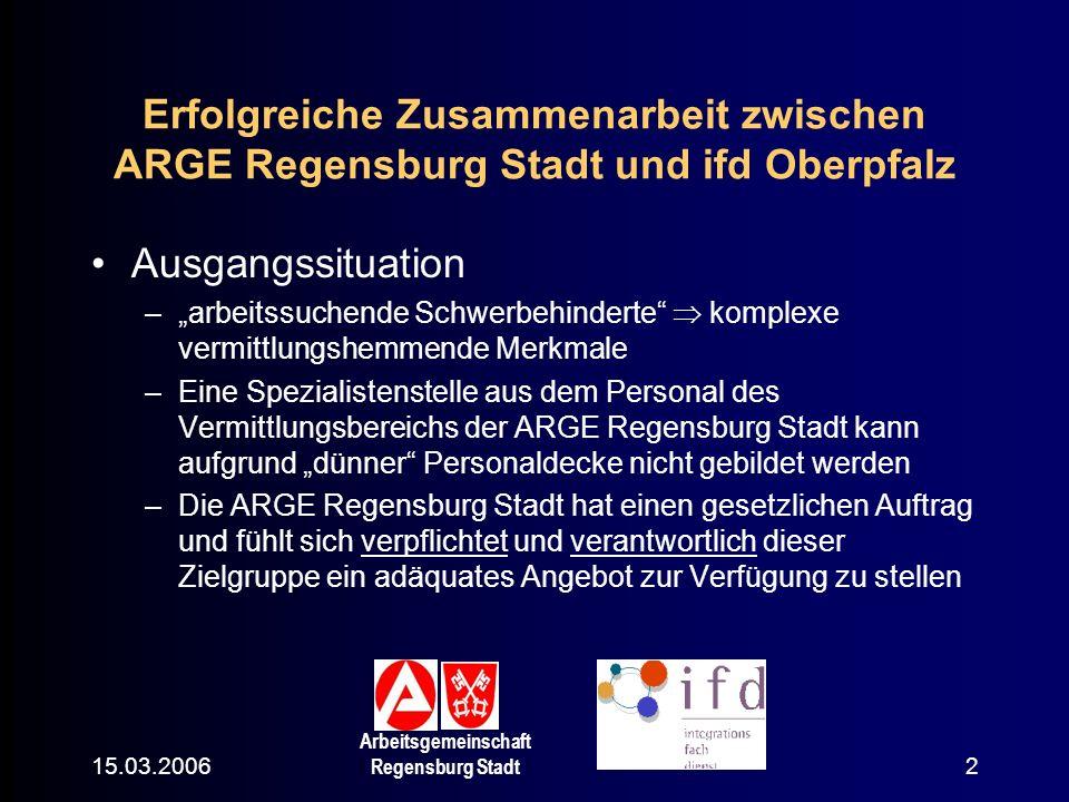 15.03.2006 Arbeitsgemeinschaft Regensburg Stadt 2 Erfolgreiche Zusammenarbeit zwischen ARGE Regensburg Stadt und ifd Oberpfalz Ausgangssituation –arbe