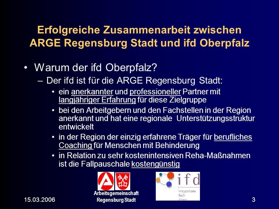 15.03.2006 Arbeitsgemeinschaft Regensburg Stadt 3 Erfolgreiche Zusammenarbeit zwischen ARGE Regensburg Stadt und ifd Oberpfalz Warum der ifd Oberpfalz