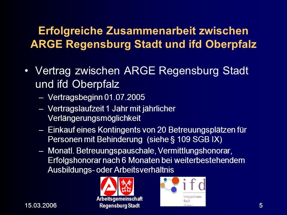 15.03.2006 Arbeitsgemeinschaft Regensburg Stadt 6 Erfolgreiche Zusammenarbeit zwischen ARGE Regensburg Stadt und ifd Oberpfalz Leistungsabklärung Ziel Vermittlung auf dem 1.